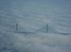 The Øresunds Bridge (JALAIR) Tags: park bridge windmill fog closeup clouds canon copenhagen airplane ixus arialphoto copenhagenairport oresund øresund øresundsbridge jalair