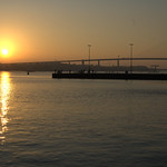 Rügen bridge at sunset