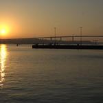 Rügen bridge at sunset