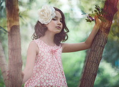 Young briar (Julia Skobeleva) Tags: pink portrait flower tree green girl beauty spring dress daughter young briar