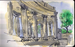 greco-roman structure in denver civic center park (mike thomas) Tags: from trees moleskine architecture watercolor sketch drawing architectural wash photograph pitt quick brushpen penandink danielsmith penandwash artbookklub