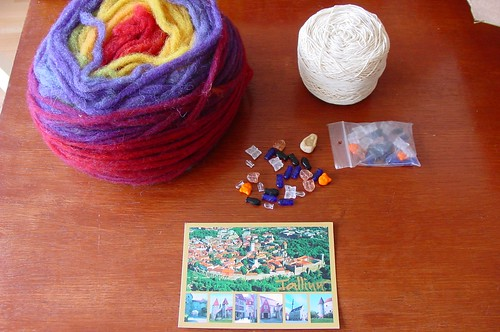 Wool, cotton, beads, card