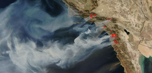 California wildfire oct 22 from space