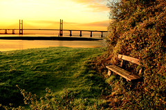 Second Severn Crossing at Dawn (-terry-) Tags: bridge wales sunrise river dawn crossing severn riversevern blackrock monmouthshire secondseverncrossing portskewett flickrchallengewinner