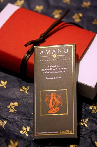 Amano Bar with a box of Mary's Chocs