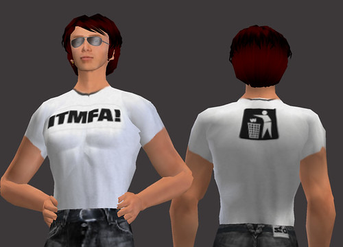 Dale Innis models the ITMFA Tshirt in Second Life