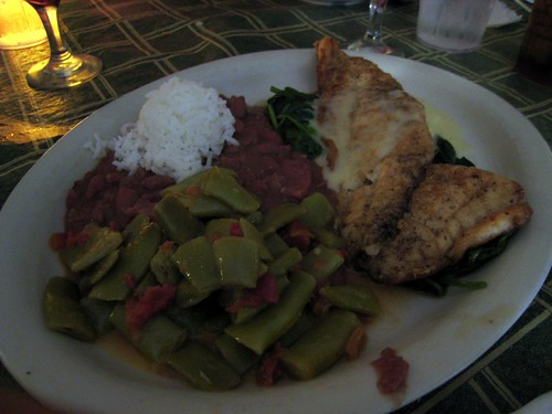 Our one entree - sheep's-head fish with wilted spinach, red beans and rice, and green beans