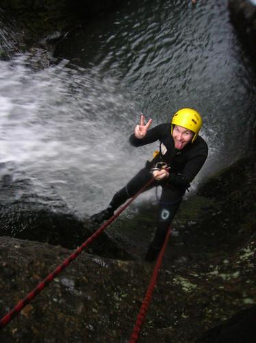 Descending a waterafall
