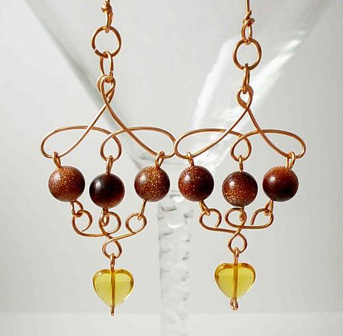 Copper & Goldstone Earrings