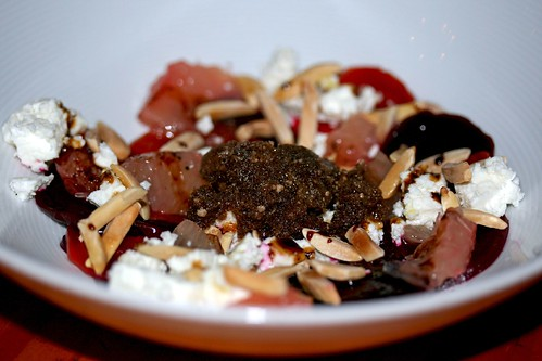 Beet and feta salad topped with Balsamic Olive Granita