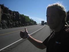 Sean hitchhiking