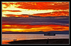 Fire in the Sky (edowds) Tags: sunset sky people orange ferry fire scotland riverclyde ayrshire largs 15challengeswinner