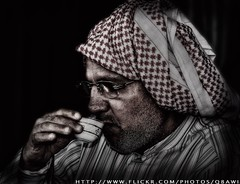 Drinking (Arabian) Coffee 101 (AQ_Q8) Tags: hdr draganizer photoshop 400d canon coffee shot drinking portrait effect kuwait aq q8 man old dark tradion vintage betterthangood