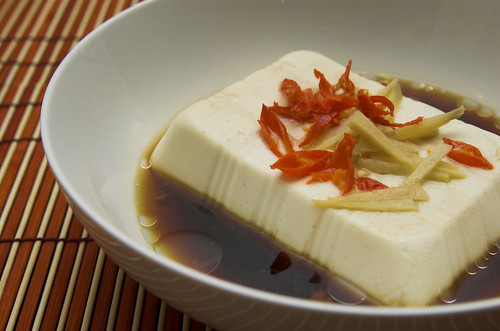 Steamed tofu with chilli and ginger