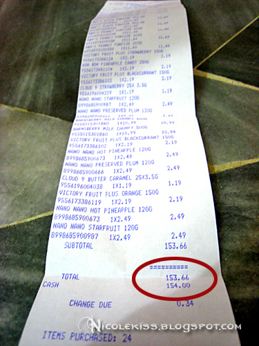 receipt for candies