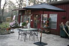 Side Patio (milkmaid1979) Tags: black yard umbrella project iron furniture painted patio remake patiofurniture bargan