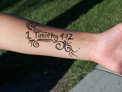 Read It (JoelleW) Tags: tattoos bible henna scripture summercamp wordsonskin textualtattoos bibleverses 1timothy