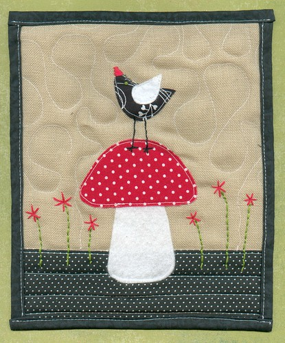 Bird and mushroom mini quilt