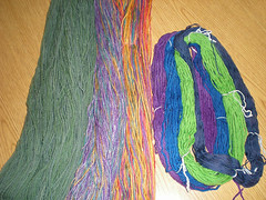 My dyed skeins, reskeined