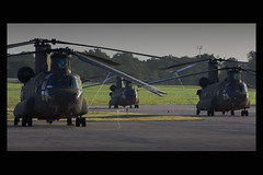 Three Chinooks - Early Morning - Slumbering Giants (Kris Klop - clearskyphotography.com) Tags: usa plane airplane army us flying airport aircraft aviation military flight helicopter chinook ch47