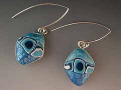 Ocean Blue Earrings (metalartiste) Tags: handmade jewelry polymerclay earrings naftali sterlingsilver dangles pcagoe baoteam