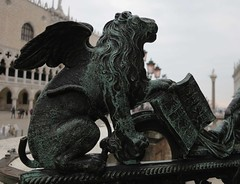 gate with the lion of saint mark (squeezemonkey) Tags: venice italy campanile tower lionofsaintmark castiron gate statue sanmarcocampanile wingedlion