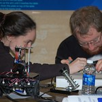 Students working on their robot
