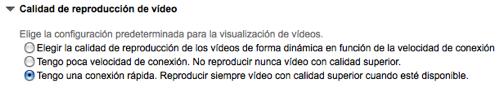 Captura de la página de preferencias de YouTube para seleccionar el modo de alta definición como predeterminado