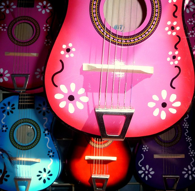 Colourful guitars at Olvera Street Mexican market, Los Angeles County, Southern California, United States of America