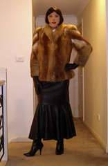 The Governess (23) (Furre Ausse) Tags: red white black leather fur belt long boots skirt blouse jacket fox mermaid satin governess