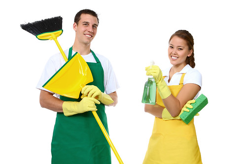 man and woman cleaners