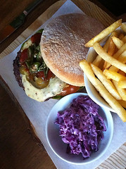 Red Hot burger at Red Squirrel Bar, Lothian Road, Edinburgh