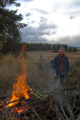Dad tending the fire.