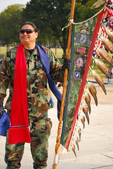 Native American soldier with his eagle feather staff (Tiz_herself) Tags: washingtondc nikon vietnam thewall nativeamericans veterans veteransday d40x d40xn warriorshield