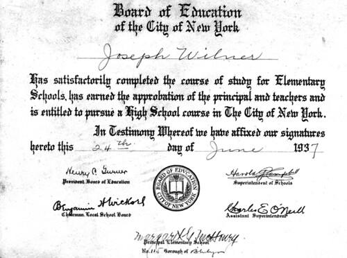 Joe Wilner's diploma, 1937