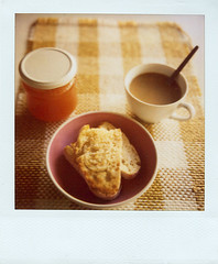 breakfast (*Juliabe) Tags: film home coffee breakfast bread sx70 instant dailylife jam desayuno mermelada myeverydaylife polarois