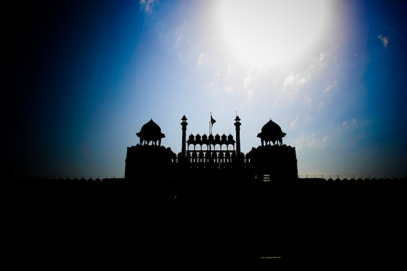 Backlit Red Fort Gate