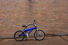 left out in the rain (xgray) Tags: blue brick wet rain bike bicycle digital upload 35mm canon austin eos prime university texas bricks universityoftexas iphoto bikerack wal ef35mmf2 40d jestercenter