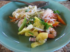 salad (adlaw) Tags: travel colors lunch restaurant salad asia cambodia southeastasia plate shrimp fork noodles siamreap kampuchea