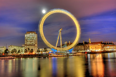 London Eye - HDR (Ageel) Tags: road street uk longexposure trip travel england sky cloud moon reflection building london tower english water beauty clouds speed buildings d50 river lens photography golden big nikon colorful europe photographer purple nightshot euro tripod kingdom londoneye wideangle arabic passengers explore arab saudi british times 1855mm arabian nikkor hdr freelance photogenic 18mm freelancer longexp  blueribbonwinner photomatix  tonemapping explored mywinners  ageel