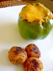 Stuffed Pepper with Hush puppies (Joyful Abode) Tags: food green cheese dinner recipe pepper stuffed puppies rice bell sausage plate hush