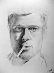 Fight Club - Brad Pitt (dominic_nwh) Tags: blackandwhite bw art brad club fight drawing tyler fanart pitt bradpitt fightclub tylerdurden durden
