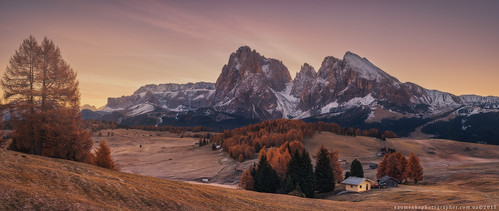 Italy. Dolomites. Autumn morning on the plateau Alpe Di Siusi