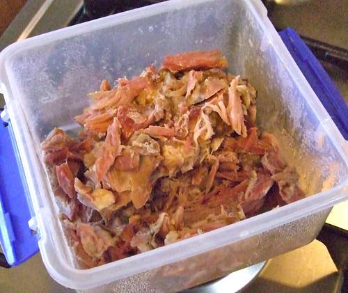 ham bits in a plastic container