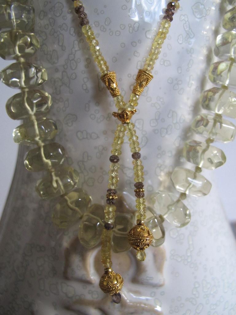 CreaJR 10193 Collier Tournesol : saphir jaune, diamant cognac & or 22 carats