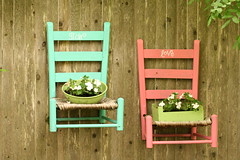 Fun chair planters (fertree33~Jen Bowles) Tags: flowers art trash vintage fence garden junk treasure handpainted lettering planter upcycled