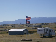 US and Bronco flags