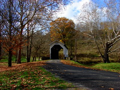 White Covered Bridge (rittyrats) Tags: autumn coveredbridge westernpennsylvania naturesfinest whitebridge golddragon swpennsylvania dragongoldaward