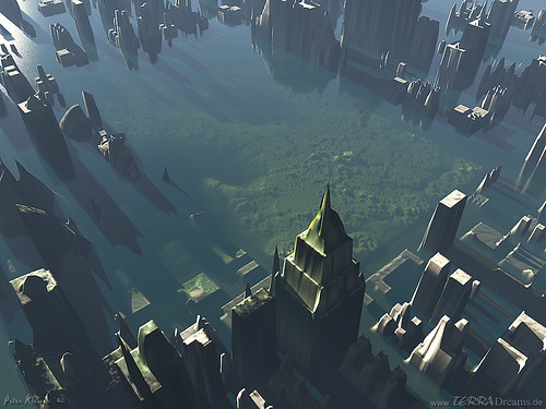 Rendering of US city under water - by TERRA-Dreams (SoftPIX_Techie)