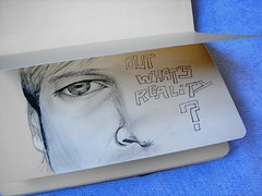 But What's Reality? (Digital Owl) Tags: blue moleskine face sketch drawing doubt graphite sonydsct33 fivefaves mge digitalowl digiowl